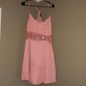 Dresses & Skirts - Mini pink/peach dress with lace/see through region